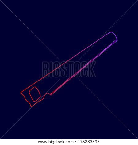 Saw simple sign. Vector. Line icon with gradient from red to violet colors on dark blue background.
