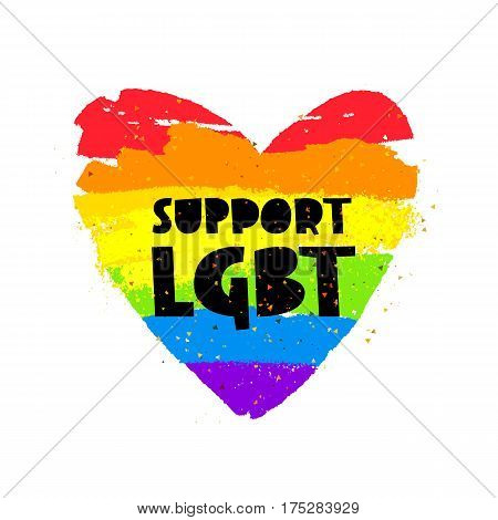 Support LGBT. Lettering. Big rainbow heart. Vector illustration on white background. Sex Culture concept.