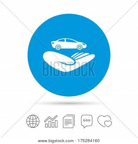 Car insurance sign icon. Hand holds transport. Protection vehicle from damage and accidents. Copy files, chat speech bubble and chart web icons. Vector