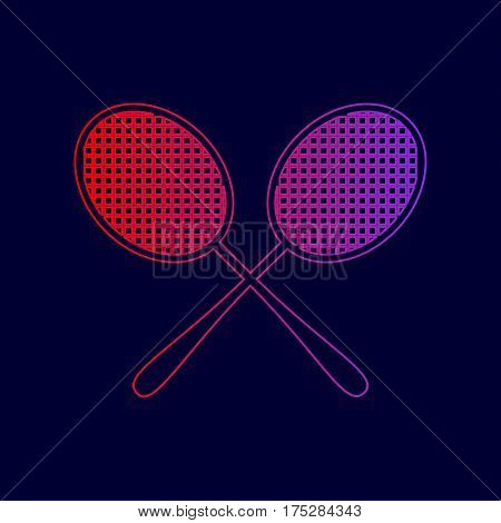 Tennis racquets sign. Vector. Line icon with gradient from red to violet colors on dark blue background.