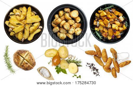 Collection of potato dishes, isolated on white.  Top View.  Includes raw and cooked.