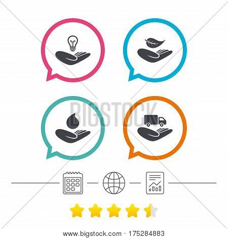 Helping hands icons. Intellectual property insurance symbol. Delivery truck sign. Save nature leaf and water drop. Calendar, internet globe and report linear icons. Star vote ranking. Vector