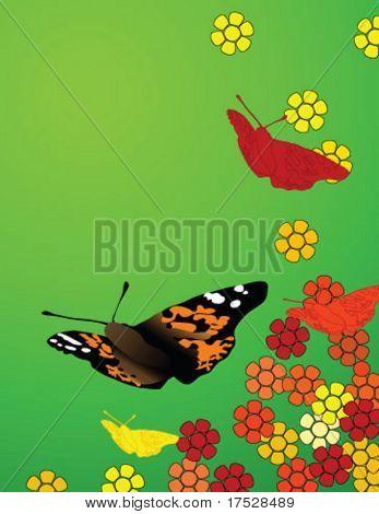 Fleurs et papillons sur une journée de printemps chaude