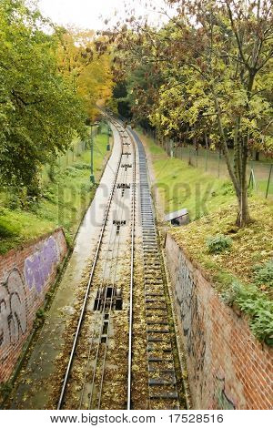 The funicular track up to the petrin tower in the town of prague.