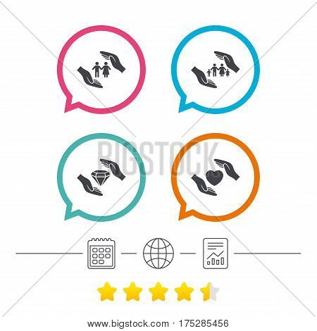 Hands insurance icons. Couple and family life insurance symbols. Heart health sign. Diamond jewelry symbol. Calendar, internet globe and report linear icons. Star vote ranking. Vector