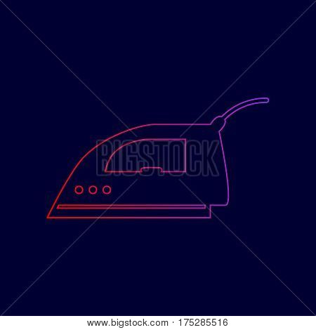 Smoothing Iron sign. Vector. Line icon with gradient from red to violet colors on dark blue background.