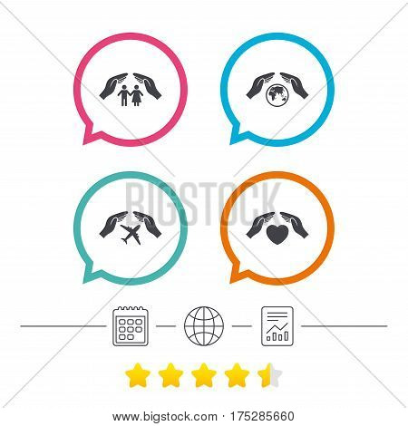 Hands insurance icons. Human life insurance symbols. Heart health sign. Travel flight symbol. Save world planet. Calendar, internet globe and report linear icons. Star vote ranking. Vector