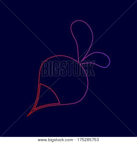 Radish simple sign. Vector. Line icon with gradient from red to violet colors on dark blue background.