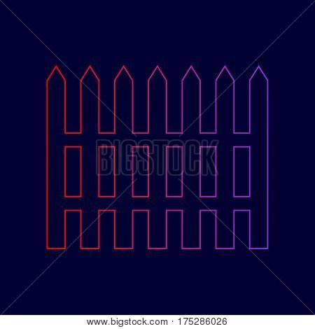 Fence simple sign. Vector. Line icon with gradient from red to violet colors on dark blue background.