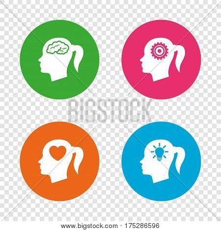 Head with brain and idea lamp bulb icons. Female woman think symbols. Cogwheel gears signs. Love heart. Round buttons on transparent background. Vector