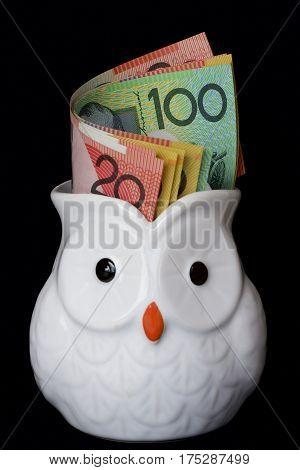 Australian dollar notes in a white owl jug.