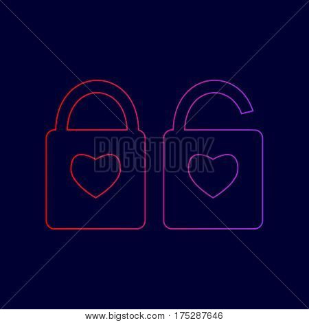 lock sign with heart shape. A simple silhouette of the lock. Shape of a heart. Vector. Line icon with gradient from red to violet colors on dark blue background.