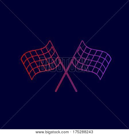 Crossed checkered flags logo waving in the wind conceptual of motor sport. Vector. Line icon with gradient from red to violet colors on dark blue background.