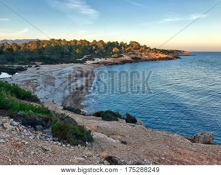 L'Ametlla de Mar, Spain, February 21, 2017: The beach at L'Ametlla de Mar in Spain.