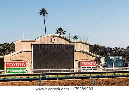 DEL MAR, CALIFORNIA - NOVEMBER 25, 2016:  Close-up view of the tote board at the Del Mar horse racing venue.