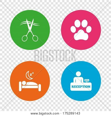 Hotel services icons. With pets allowed in room signs. Hairdresser or barbershop symbol. Reception registration table. Quiet sleep. Round buttons on transparent background. Vector