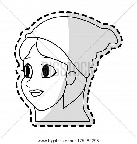 pretty young woman with beanie hat icon image vector illustration design