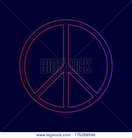 Peace sign illustration. Vector. Line icon with gradient from red to violet colors on dark blue background.