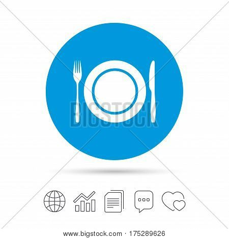 Plate dish with fork and knife. Eat sign icon. Cutlery etiquette rules symbol. Copy files, chat speech bubble and chart web icons. Vector