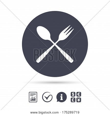 Eat sign icon. Cutlery symbol. Dessert fork and teaspoon crosswise. Report document, information and check tick icons. Currency exchange. Vector