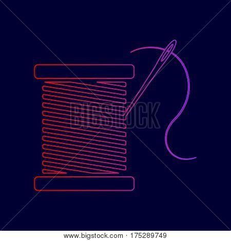Thread with needle sign illustration. Vector. Line icon with gradient from red to violet colors on dark blue background.
