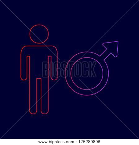 Male sign illustration. Vector. Line icon with gradient from red to violet colors on dark blue background.