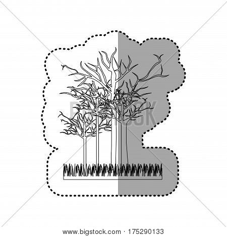contour leafless trees icon, vector illustraction design image