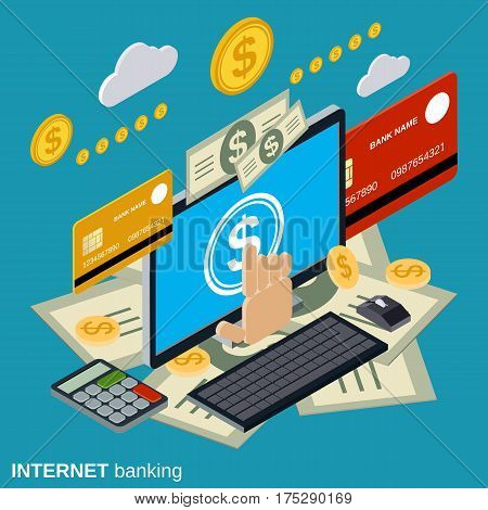 Internet banking, online payment, money transfer, financial transaction vector concept