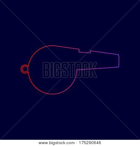 Whistle sign. Vector. Line icon with gradient from red to violet colors on dark blue background.