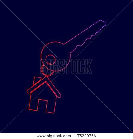 key with keychain as an house sign. Vector. Line icon with gradient from red to violet colors on dark blue background.