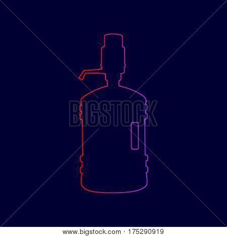 Plastic bottle silhouette with water and siphon. Vector. Line icon with gradient from red to violet colors on dark blue background.