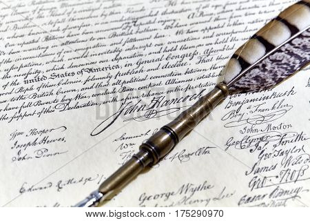 Us Constitution John Hancock Signature With A Quill Pen