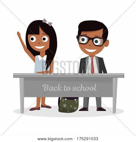 Schoolgirl and schoolboy sitting at Desk and raise my hand in class. Illustration on white background.