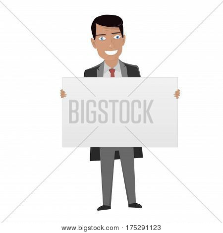 Man in the suit holding blank sign. White Board for business.