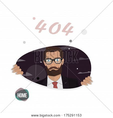 Page not found, error 404. Business man. Illustration for the web site.
