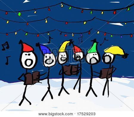 A child like drawing of a group of christmas carolers with lights