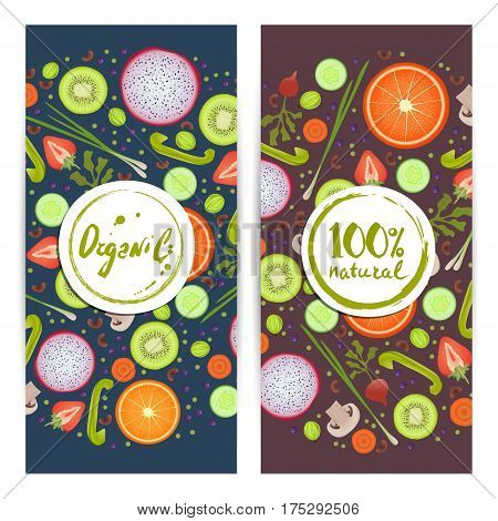 Organic food vertical flyers set vector illustration. Vegetarian, gmo free, fresh and natural, vegan, raw food, gluten free, healthy lifestyle, bio and eco nutrition concept. Fruits and vegetables.