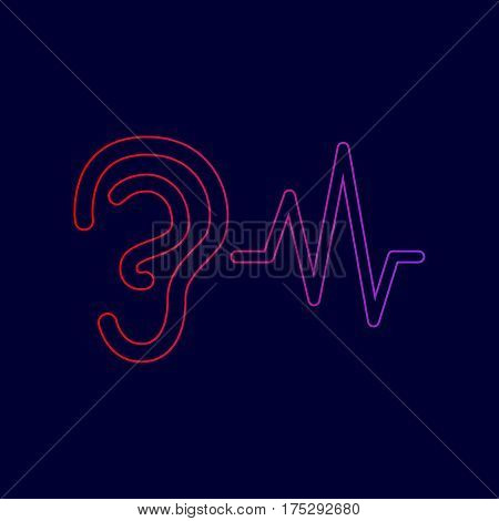 Ear hearing sound sign. Vector. Line icon with gradient from red to violet colors on dark blue background.