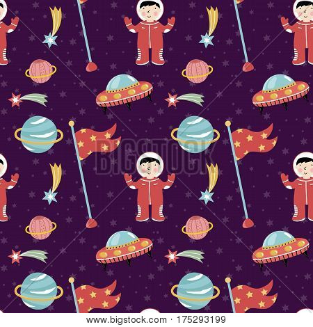 Space discover pioneers cartoon seamless pattern. Astronaut in spacesuit, stars, comet, Saturn planet, flying saucers, flag with stars vector illustrations on violet background. For greeting cards