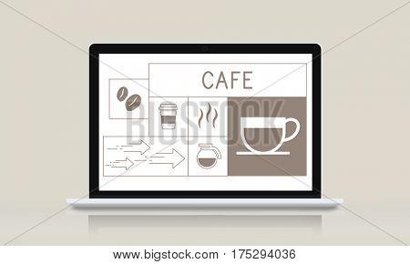 Illustration of coffee shop advertisement on laptop