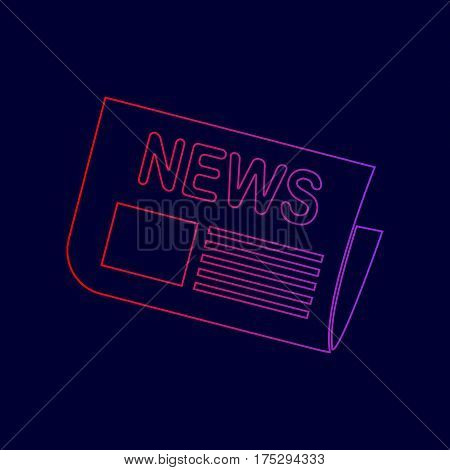 Newspaper sign. Vector. Line icon with gradient from red to violet colors on dark blue background.