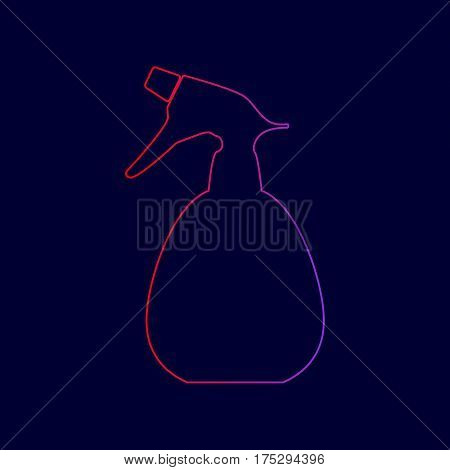 Spray bottle for cleaning sign. Vector. Line icon with gradient from red to violet colors on dark blue background.