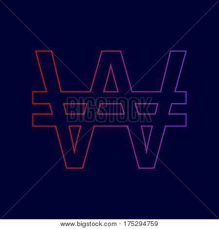Won sign. Vector. Line icon with gradient from red to violet colors on dark blue background.