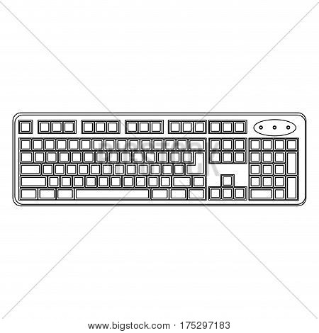 white computer keyboard icon, vector illustraction design