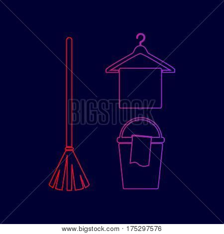 Broom, bucket and hanger sign. Vector. Line icon with gradient from red to violet colors on dark blue background.