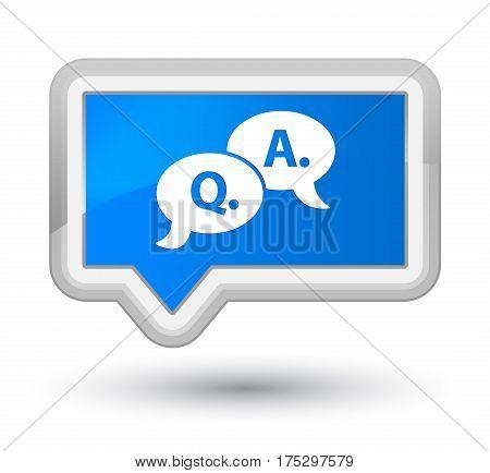Question Answer Bubble Icon Prime Cyan Blue Banner Button