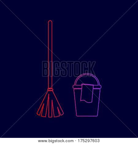 Broom and bucket sign. Vector. Line icon with gradient from red to violet colors on dark blue background.