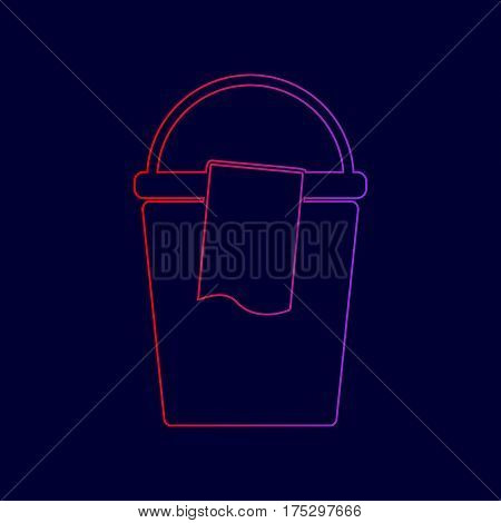 Bucket and a rag sign. Vector. Line icon with gradient from red to violet colors on dark blue background.