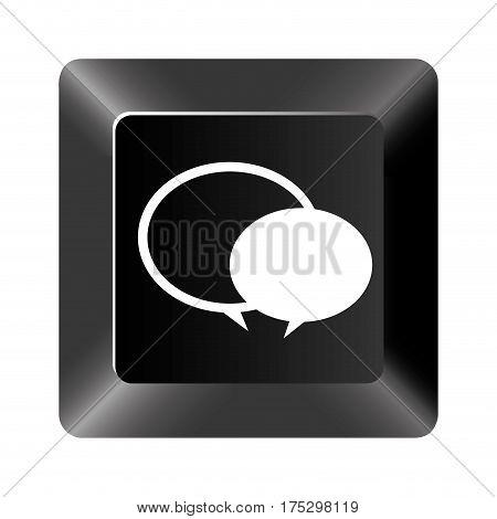 black button round chat bubbles icon, vector illustraction design