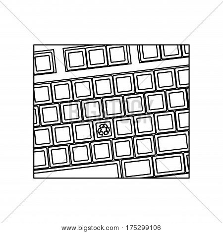 figure computer keyboard with recycle symbol icon, vector illustraction design